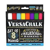 Liquid Chalk Markers by VersaChalk - Non Toxic Wet Erase Chalkboard Window Glass Pens (Fine Neon Colors Set)