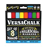 #3: Chalk Markers for Chalkboard by VersaChalk (Reversible Tip, Neon) - Erasable Dustless Water-Based Non-Toxic Liquid Wet Erase Pens