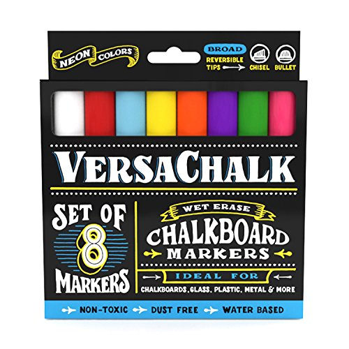 Chalk Markers for Chalkboard by VersaChalk (Reversible Tip, Neon) - Erasable Dustless Water-Based Non-Toxic Liquid Wet Erase Pens from VersaChalk