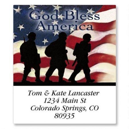 - Soldier Square Patriotic Return Address Labels - Set of 144, 1-1/2 x 1-3/4 Self-Adhesive, Flat-Sheet labels, American Flag Labels,