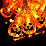 MUIFA Halloween String Lights, Cute Pumpkin Ghost Strands LED Bulbs for Porch House Window Decorations Home Party Decor (Yellow Orange)