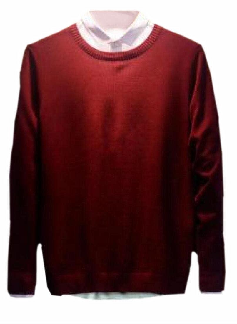 xtsrkbg Mens Basic Solid Long Sleeve Pullover Crewneck Knitted Sweater