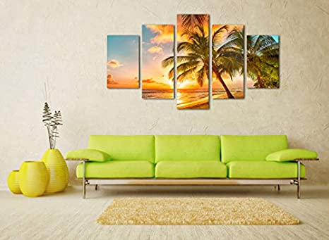 Amazon.com: Canvas Prints Wall Art Sunset Sea Beach Coconut Palm ...