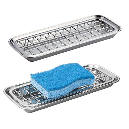 mDesign Metal 2-Piece Sink Tray Caddy for Kitchen Countertops - Removable Grid Insert for Sponges, Scrubbers, Bar Soap, Cleaning Tools - Drainage Grid with Tray - 2 Pack - Polished Stainless Steel ()