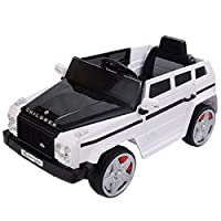 White and Black Kids Ride On 12V Car Battery Power Wheels RC Remote Control With LED Lights