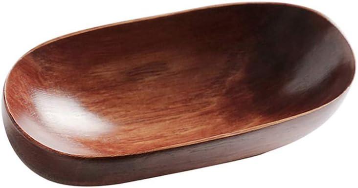 SKJK Japanese Style Dish Tray Dried Fruit Dish Boat Shape Salad Bowls Food Serving Tray Natural Solid Wood Dinnerware Environmentally Friendly Tableware