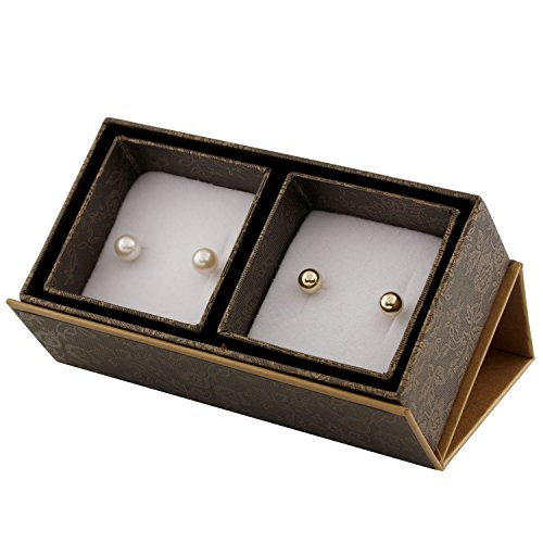 Boxed Set 2 Pairs 14K Yellow Gold Ball Earrings and White Freshwater Cultured Pearl Studs Jewelry for Women (6mm Classic Ball)
