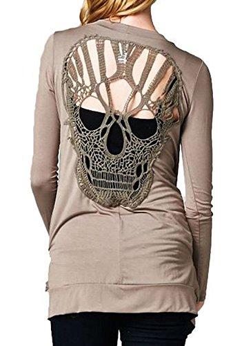 Donna Lunga Elegante Felpa Sweatshirt Manica Cranio Mantelle Tops Stampe Giacche Giacca Kimono Moda Grigio Cardigan ggwqd0r