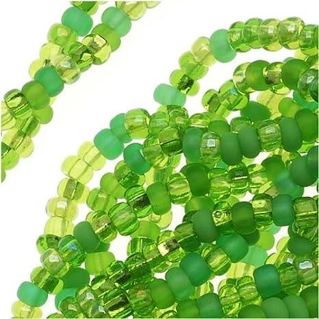 50 Gramos De Semillas De Vidrio Cuentas-Verde Lima Transparente-Aprox 4 Mm tamaño 6//0