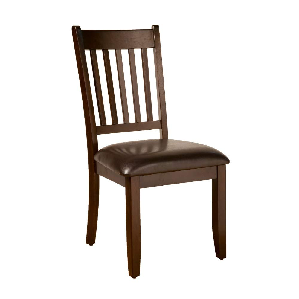 Set of Two Benzara BM172020 Wooden Dining Chairs with Padded Leatherette Seat Brown