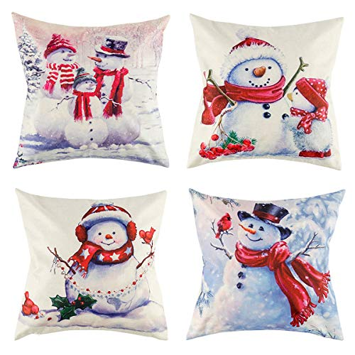 (Suptee 4 Pack Christmas Snowman Pillow Cover Throw Cushion Cover for Xmas Happy New Year Winter Home Decoration, 18 x 18 Inches)