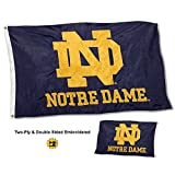 College Flags and Banners Co. Notre Dame Fighting Irish Double Sided Nylon Embroidered Flag For Sale