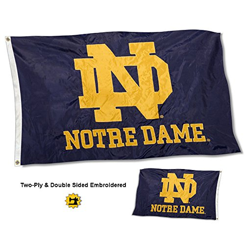 College Flags and Banners Co. Notre Dame Fighting Irish Double Sided Nylon Embroidered Flag ()