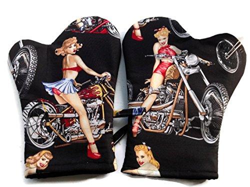 Mitt Cowgirl (Handmade Oven Mitts Biker Girls Alexander Henry Black)
