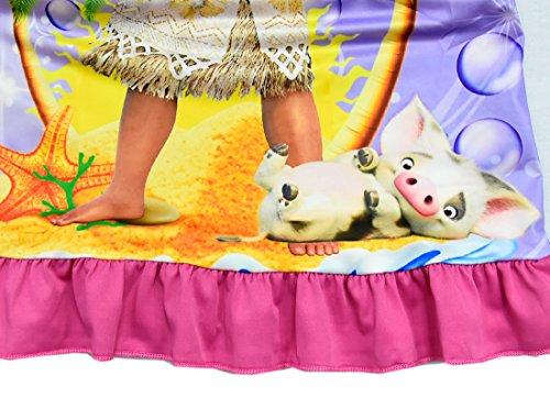 ZHBNN Moana Girls Nightgown Cartoon Pajamas Princess Dress(Rose,100/2-3Y) by ZHBNN (Image #3)