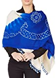 Blue Cream Shawl Wrap For Women Indian Woolen Tie-Dye Handmade Gifts 36X80 Inch