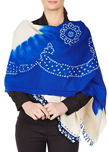 Blue Cream Shawl Wrap For Women Indian Woolen Tie-Dye Handmade Gifts 36X80 Inch by ShalinIndia