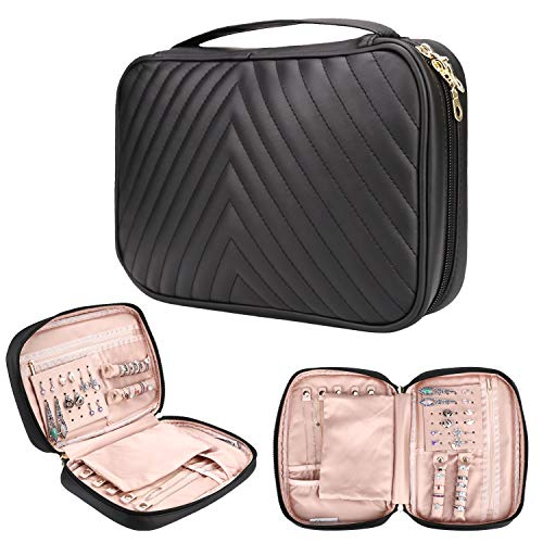 Caperci Jewelry Travel Organizer Bag Black, Soft Leather Jewelry Storage Case for Necklaces, Earrings, Rings, Bracelets
