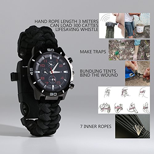 Survival-Bracelet-Watch-Men-Women-Emergency-Survival-Watch-with-ParacordWhistleFire-StarterScraperCompass-and-Thermometer-6-in-1-Multifunctional-Outdoor-Gear