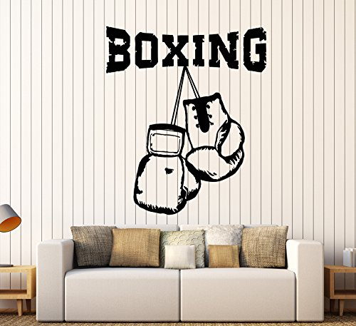 Vinyl Wall Decal Sport Boxer Boxing Gloves Fighter Gym Stickers Large Decor (947ig) Silver Metallic