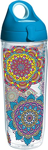 Tervis 1225055 Colorful Mandalas Tumbler with Wrap and Turquoise Lid 24oz Water Bottle, - Bottle Water Tervis