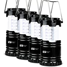 4 Pack Portable LED Camping Lantern, Novelty Place [Heavy Duty & Waterproof] Outdoor Hiking Gear Lights - Ultra Bright Compact Size - Battery Powered Emergency Flashlight