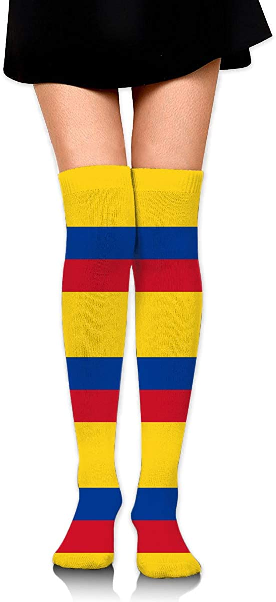 Woman Cotton Thigh High Compression Socks Colombia Flag Soccer Tube Sock