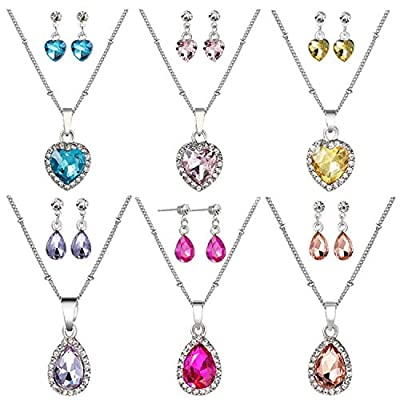 PinkSheep Jewel Stud Earrings and Necklace for Little Girls, 6 Sets, Heart and Water Drop Diamond Birthstone Earrings and Necklace, Party Favors Bag: Toys & Games