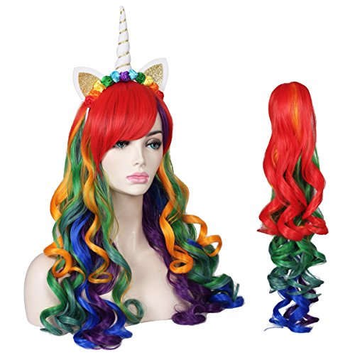 ColorGround Long Multicolor Cosplay Wig and Tail for High-end Theme Party (Rainbow Color) -