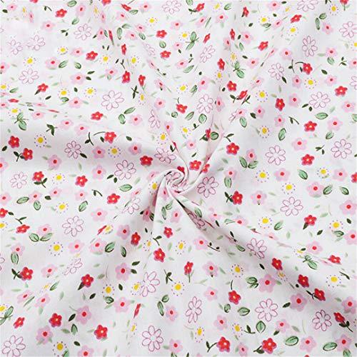 (Pink Floral Cotton Fabrics For Baby Girls Dresses Sewing Apron Bib Infant Bedding Doll Cloth Diy Fabrics Needlework Material 1 160Cmx250Cm)