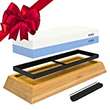 : Whetstone Knife Sharpening Stone: 2-Sided Professional Grade Japanese Style Waterstone Blade Sharpener, 1000 / 6000 Grits, with Non-Slip Base, Angle Guide, Illustrated PDF Guide & Video Instructions