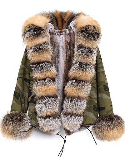 Murfhee Women's Luxurious Winter Coat Real Fox Fur Hooded Parka Short Jacket (XX-Large, Camouflage-Brown)