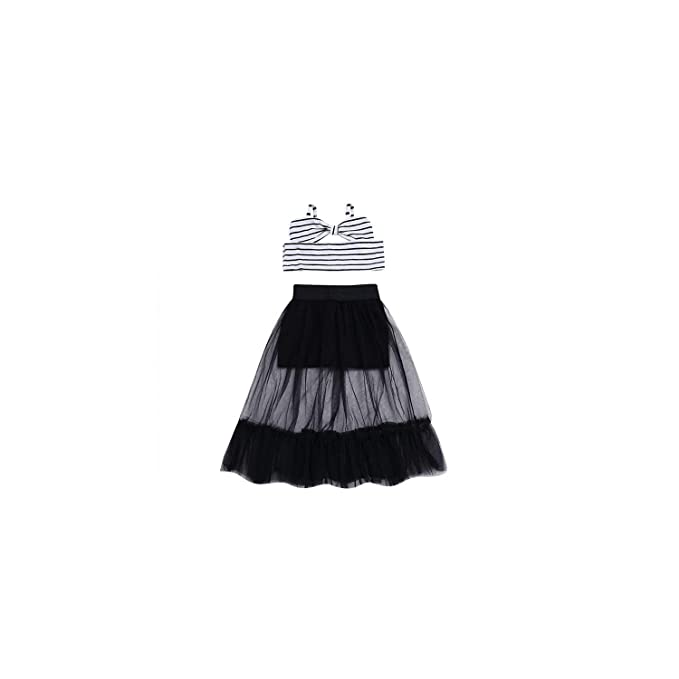 e04b8775835846 Child Baby Clothes Set Striped Sleeveless Bow Crop Top Shirts Tulle Lace  Skirt Clothing Summer Girl 2Pcs Kids: Amazon.ca: Clothing & Accessories