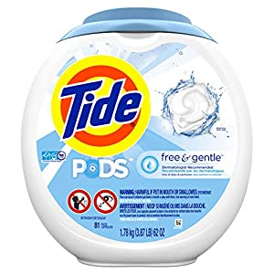 Gut Health Shop 517hAhwSN8L._SS300_ Tide Free and Gentle Laundry Detergent Pods, 81 Count, Unscented and Hypoallergenic for Sensitive Skin