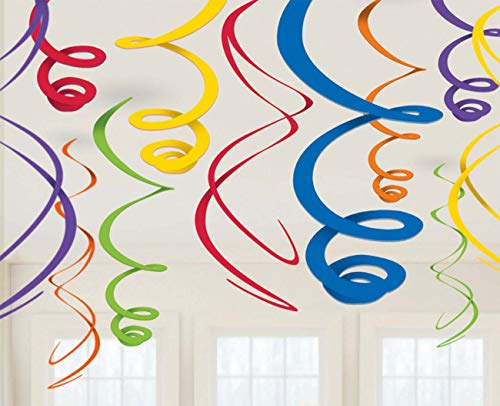 Party Hanging Swirls | Rainbow | Party Decor (Primary Color Party Decorations)