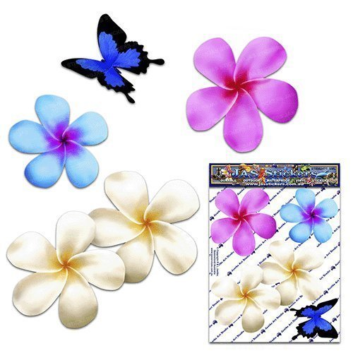 Frangipani plumeria pequeña flor multicolor doble + animal de la mariposa Etiquetas engomadas del coche del paquete - ST00024MC_SML - Etiquetas engomadas de JAS