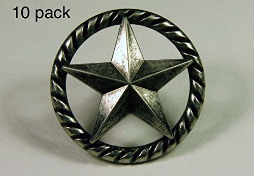 - RAISED STAR KNOB AS WESTERN CABINET HARDWARE DRAWER PULLS TEXAS STAR KNOBS (10)