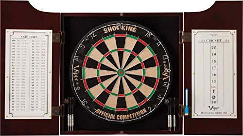 - Viper by GLD Products 40-0219 Hudson Sisal/Bristle Steel Tip Dartboard & Cabinet Bundle: Standard Set (Shot King Dartboard)