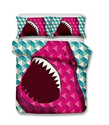 Damara Ferocious Shark Series 3D Bedding Set Print Duvet Cover Set Lifelike Bed Sheet Without Any Filling#01