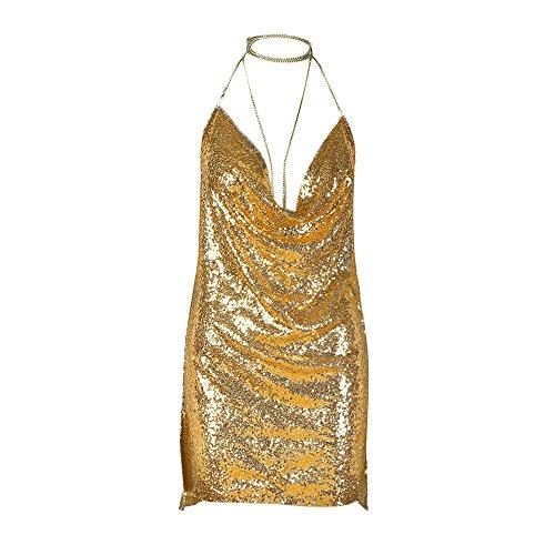 Sequin Choker Kleid Sannysis Kendall Kette Gold Slip Damen Backless CexoBrd
