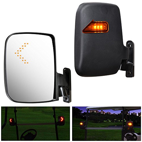 AW 2pcs Universal Golf Cart Rear View Folding Side Mirror with LED Indicators Compatible with EZGO Club Car Yamaha