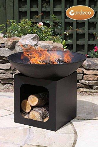 Gardeco Isla Cast Iron Fire Pit, Black, 56 x 56 x 58 cm