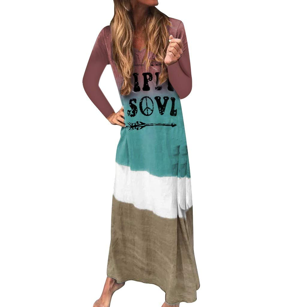 SADUORHAPPY Women Casual Long Dress Dyeing Gradient Letter Print Long Sleeve Maxi Dress V Neck Dress by SADUORHAPPY Dress