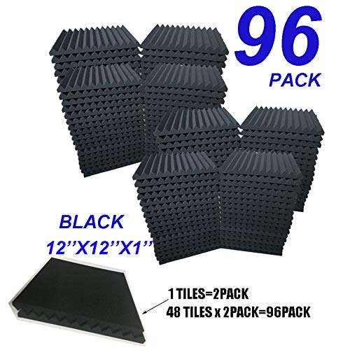 96 Pack BLACK Acoustic Foam Panel Wedge Studio Soundproofing Wall Tiles 12