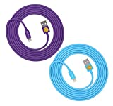Qable Powerz 6ft Lightning USB Sync Cable Charger Cord for Smartphones & Tablets - 2 Pack - Purple & Blue