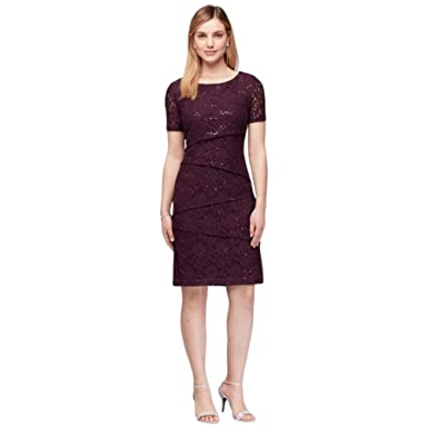Davids Bridal Short Sleeve Asymmetric Tiered Lace Sheath Mother Of Bride Groom Dress Style At Amazon Womens Clothing Store