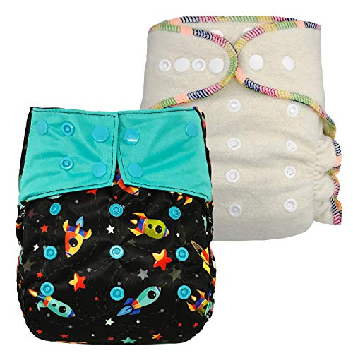 Overnight Diaper Set: Waterproof Diaper Cover and Hemp Fitted Cloth Diaper, One Size with Snaps (Rocket) ()