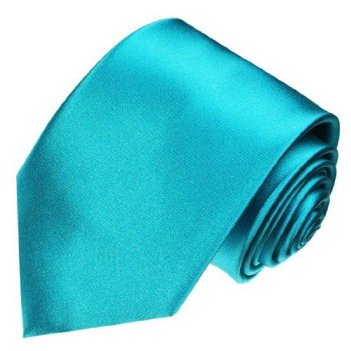 LORENZO CANA - Türkise Marken Krawatte aus 100% Seide - Schlips Binder aus Satinseide - 84443