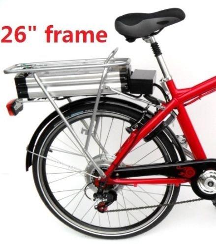 Electric bike battery rear rack fits 26-29 bike frame slide rail rear rack silver Alum super light