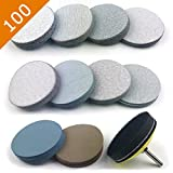 POLIWELL 3 inch Assorted Grits White Dry & Waterproof(Wet/Dry) Hook & Loop Sanding Discs with 1/4 inch Shank Sanding Pad + Soft Foam-Backed Interface Buffer Pad, Total 100 Discs